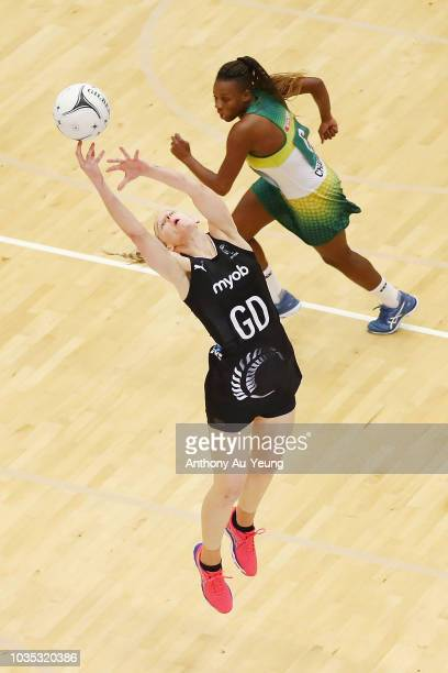 Laura Langman of the Silver Ferns in action during the Quad Series match between the New Zealand Silver Ferns and South Africa Proteas at ASB Arena...