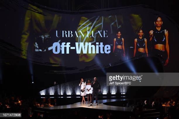 Katrina Johnson Thompson and Dina Asher Smith present Virgil Abloh for OFF WHITE with the Urban Luxe award during The Fashion Awards 2018 In...