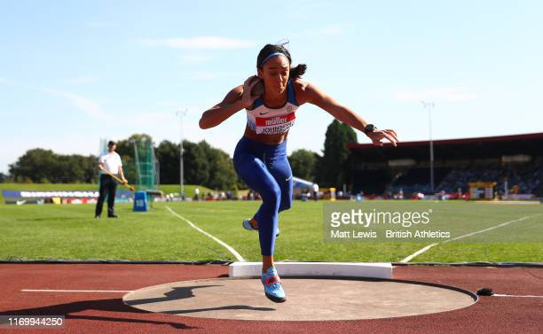Katrina Johnson-Thompson in action during the Womens Shot Putt Final during Day One of the Muller British Athletics Championships at the at Alexander...