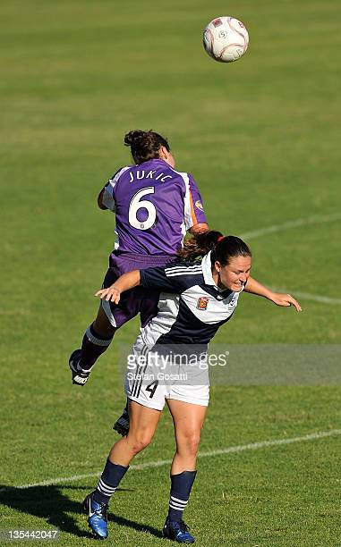 Katrina Jukic of the Glory and Kendall Fletcher of the Victory compete for the ball during the round eight WLeague match between the Perth Glory and...