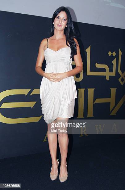 Katrina Kaif after being announced brand ambassador of Ethihad Airways at a press conference in Mumbai on August 24 2010