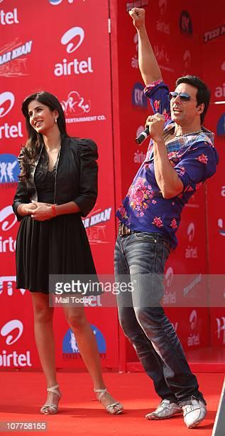 Katrina Kaif and actor Akshay Kumar at a promotional event for their upcoming film Tees Maar Khan at Ansal Plaza on Wednesday