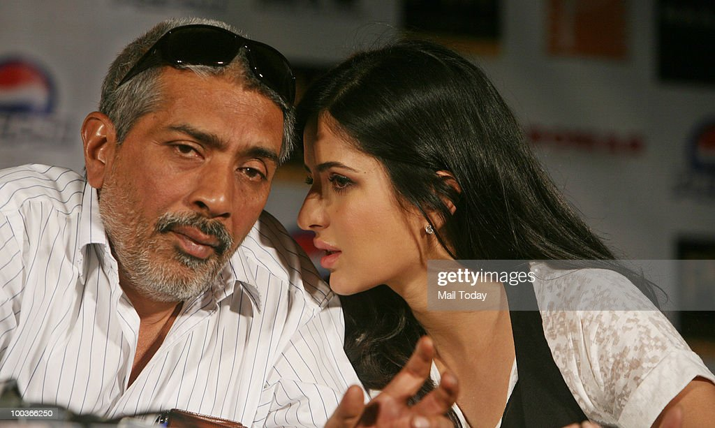 Katrina Kaif and Prakash Jha at a promotional evnt for the film Rajneeti in New Delhi on May 20, 2010.