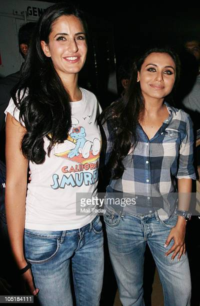 Katrina Kaif and Rani Mukherjee during the 'Being Human' foundation show at day four of the HDIL Couture week in Mumbai on October 9 2010