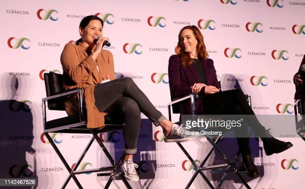 Katrina Law and Caity Lotz speak during the Nyssara panel at ClexaCon 2019 convention at the Tropicana Las Vegas on April 13 2019 in Las Vegas Nevada