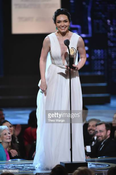 Katrina Lenk accepts the award for Best Performance by an Actress in a Leading Role in a Musical for The Band's Visit onstage during the 72nd Annual...
