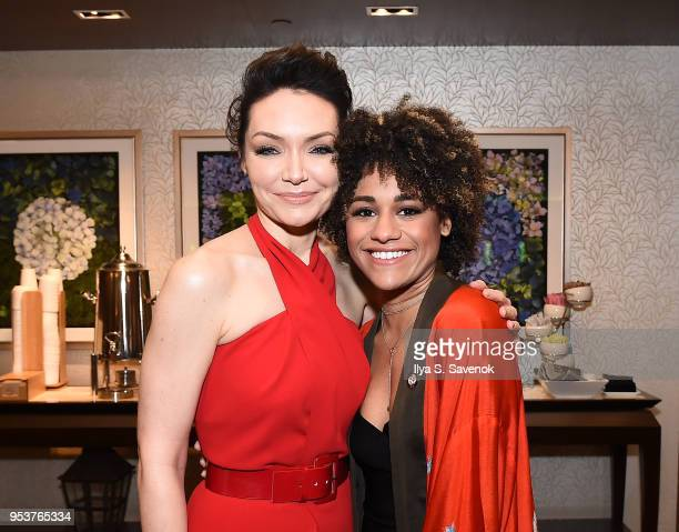 Katrina Lenk and Ariana DeBose attend the 2018 Tony Awards Meet The Nominees Press Junket on May 2 2018 in New York City