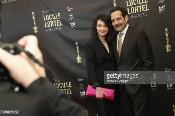 Katrina Lenk and Tony Shalhoub attend the 33rd Annual Lucille Lortel Awards on May 6 2018 in New York City