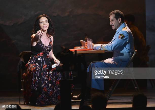 Katrina Lenk and Tony Shalhoub from The Band's Visit perform onstage during the 72nd Annual Tony Awards at Radio City Music Hall on June 10 2018 in...