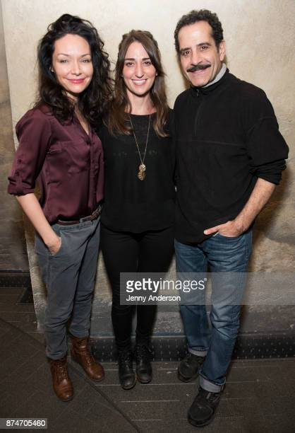 Katrina Lenk Sara Bareilles and Tony Shalhoub on stage at The Ethel Barrymore Theatre on November 15 2017 in New York City