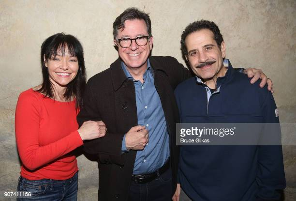Katrina Lenk Stephen Colbert and Tony Shalhoub pose backstage at the hit musical The Band's Visit on Broadway at The Barrymore Theatre on January 19...