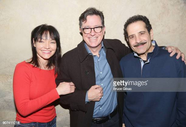 Katrina Lenk Stephen Colbert and Tony Shalhoub pose backstage at the hit musical 'The Band's Visit' on Broadway at The Barrymore Theatre on January...