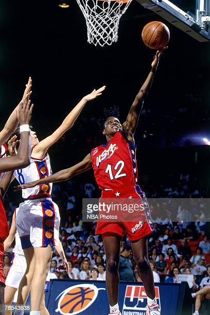 Katrina McClain of United States Women's National shoots a layup during the 1996 Olympic Games in Atlanta Georgia NOTE TO USER User expressly...