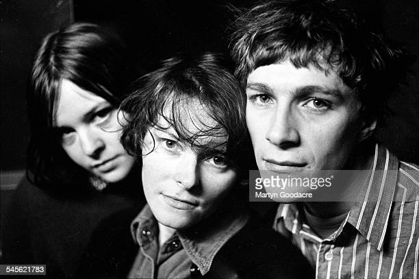 Katrina Mitchell Aggi Wright and Stephen McRobbie of The Pastels group portrait London United Kingdom 1991