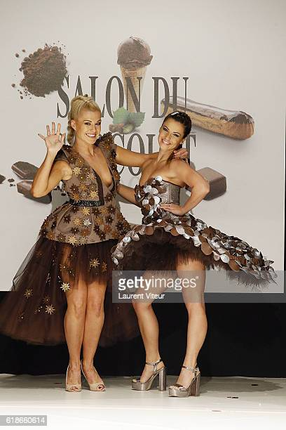 Katrina patchett and Denitsa Ikonomova walk the Runway during the Dress Chocolate Show as part of Salon du Chocolat at Parc des Expositions Porte de...