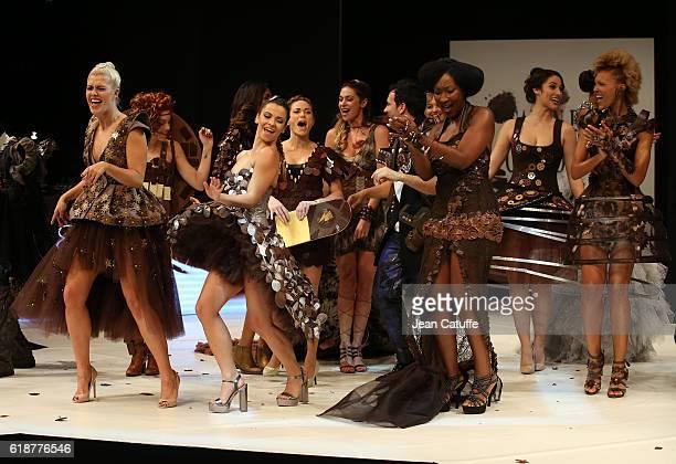 Katrina Patchett Denitsa Ikonomova Nadege BeaussonDiagne Amanda Scott walk the runway during the Chocolate Fashion Show as part of Salon du Chocolat...