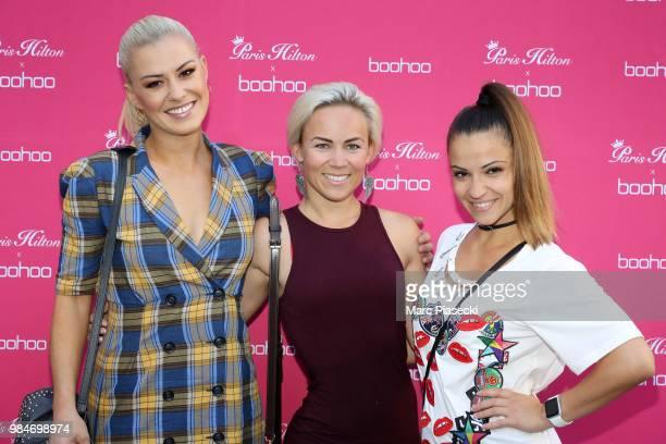 Katrina Patchett Emmanuelle Berne and Denitsa Ikonomova attend Paris Hilton x Boohoo Party at Hotel Le Marois on June 26 2018 in Paris France