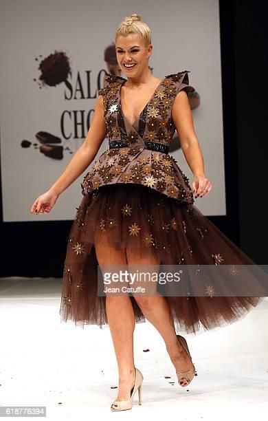 Katrina Patchett walks the runway during the Chocolate Fashion Show as part of Salon du Chocolat Paris 2016 at Parc des Expositions Porte de...