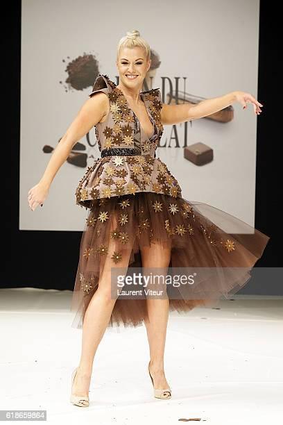 Katrina Patchett walks the runway during the Dress Chocolate Show as part of Salon du Chocolat at Parc des Expositions Porte de Versailles on October...