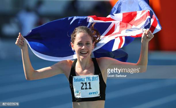 Katrina Robinson of New Zeland celebrates after finishing second in the Girls 3000m Final at the Athletics on day 5 of the 2017 Youth Commonwealth...
