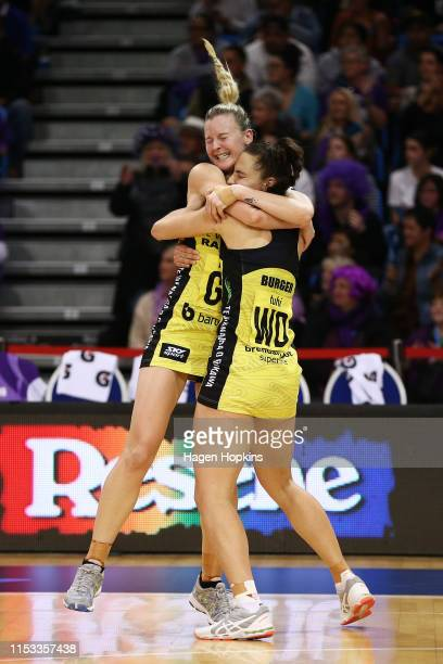 Katrina Rore and Karin Burger of the Pulse celebrate the win during the ANZ Premiership Netball Final between the Pulse and the Stars at Te Rauparaha...