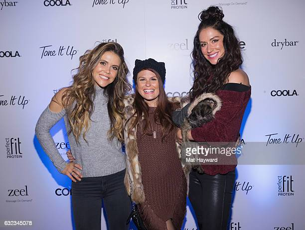 Katrina Scott, Ali Levine and Karena Dawn pose for a photo in the Tone It Up Wellness Lounge during the Sundance Film Festiva on January 21, 2017 in...
