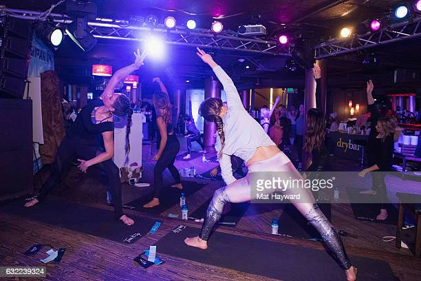 Katrina Scott and Karena Dawn lead a workout in the Tone It Up Wellness Lounge during the Sundance Film Festival on January 20, 2017 in Park City,...