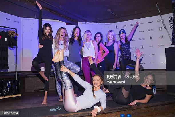 Katrina Scott and Karena Dawn pose for a photo with guests in the Tone It Up Wellness Lounge during the Sundance Film Festival on January 20, 2017 in...