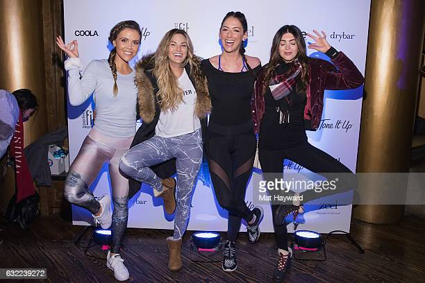 Katrina Scott, Becca Tilley, Karena Dawn and Kelsey White pose for a photo in the Tone It Up Wellness Lounge during the Sundance Film Festival on...