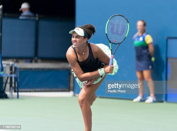 Katrina Scott in action during junior girls round 3 at US Open Championships against Robin Montgomery at Billie Jean King National Tennis Center.