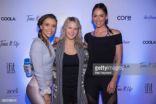 Katrina Scott, Sophie Elgort and Karena Dawn pose for a photo in the Tone It Up Wellness Lounge during the Sundance Film Festival on January 20, 2017...
