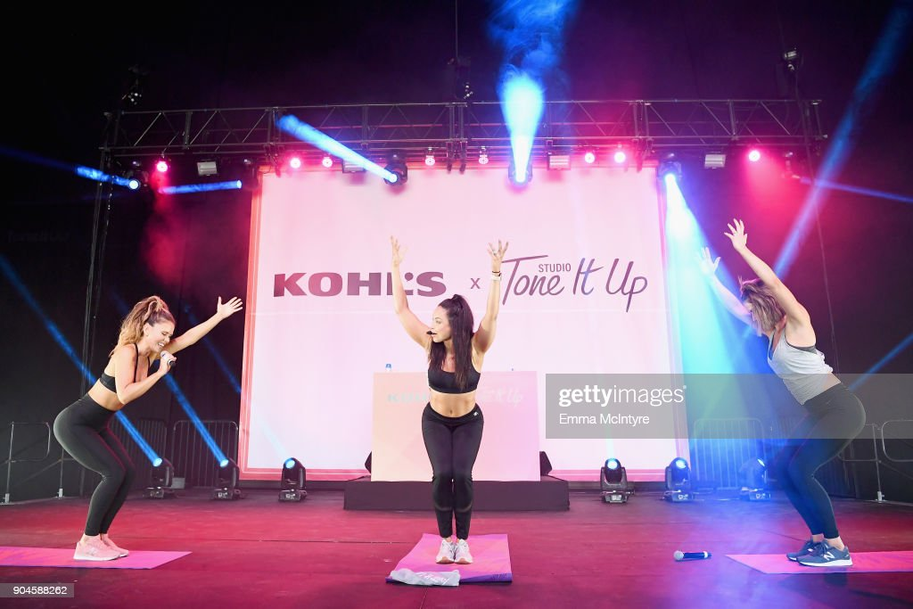 Katrina Scott, Tone It Up trainer, and Karena Dawn attend Kohl's x Studio Tone It Up at Barker Hangar on January 13, 2018 in Santa Monica, California.