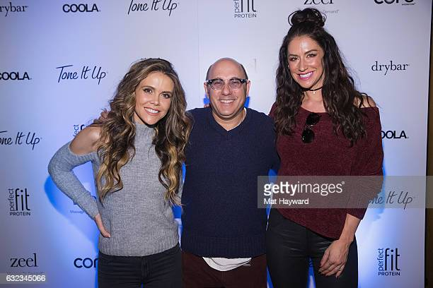 Katrina Scott, Willie Garson and Karena Dawn pose for a photo in the Tone It Up Wellness Lounge during the Sundance Film Festiva on January 21, 2017...