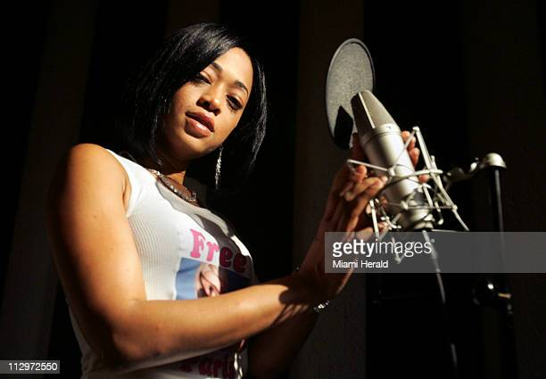 Katrina Taylor the rap artist known as Trina poses in the studio at Slip N' Slide Records in South Beach Florida June 11 2007