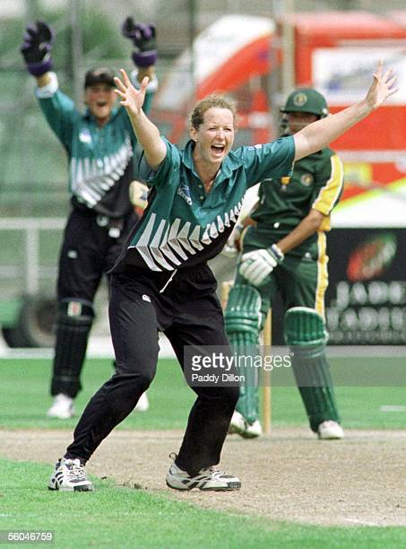 Katrina Withers goes up for an appeal during the New Zealand Women's Cricket International held at Jade Stadium today The New Zealand Women's Cricket...