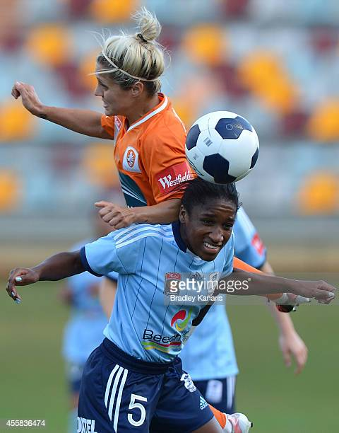 KatrinaLee Gorry of the Roar and Jasmyne Spencer of Sydney compete for the ball during the round two WLeague match between the Brisbane Roar and...