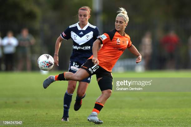 Katrina-Lee Gorry of the Roar in action during the round one W-League match between the Melbourne Victory and the Brisbane Roar at C.B. Smith Reserve...