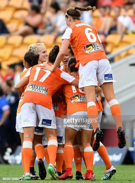 KatrinaLee Gorry of the Roar is congratulated by team mates after scoring a goal during the round eight WLeague match between the Brisbane Roar and...