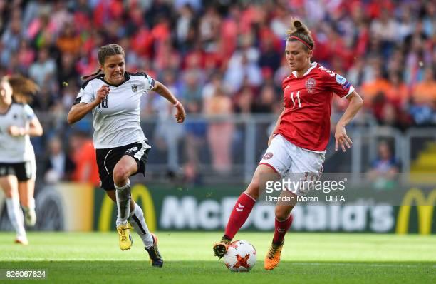 Katrine Veje of Denmark and Laura Feiersinger of Austria during the UEFA Women's EURO 2017 Semifinal match between Austria and Denmark at Rat Verlegh...