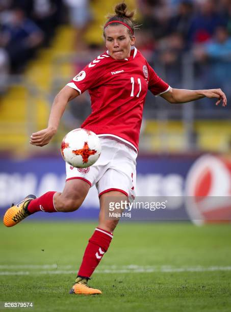 Katrine Veje of Denmark controls the ball during the UEFA Women's Euro 2017 Semi Final match between Denmark and Austria at Rat Verlegh Stadion on...