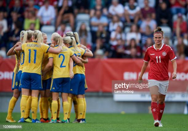Katrine Veje of Denmark looks dejected during the FIFA Women's World Cup qualifier match between Denmark and Sweden at Viborg Stadion on September 4...