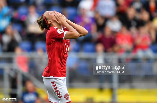 Katrine Veje of Denmark reacts to a missed chance during the UEFA Women's EURO 2017 Semifinal match between Austria and Denmark at Rat Verlegh...