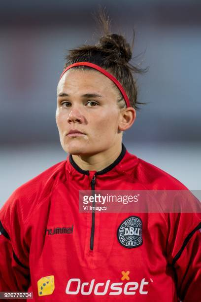 Katrine Veje of Denmark women during the Algarve Cup 2018 match between the Netherlands and Denmark at the Complexo Desportivo Municipal de Vila Real...