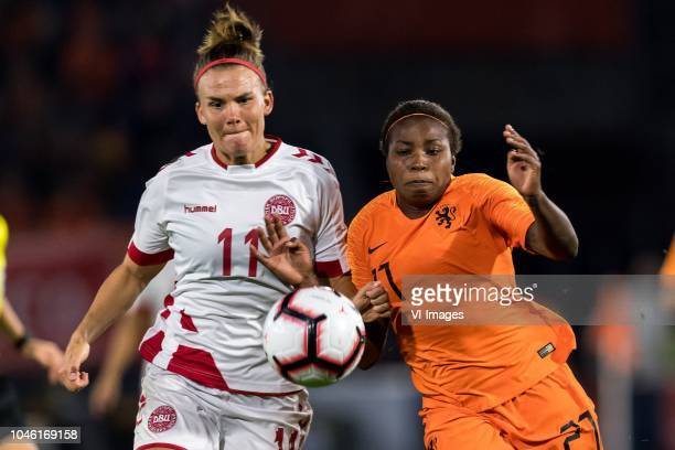 Katrine Veje of Denmark women Lineth Beerensteyn of The Netherlands women during the FIFA Women's World Cup 2019 play off first leg qualifying match...