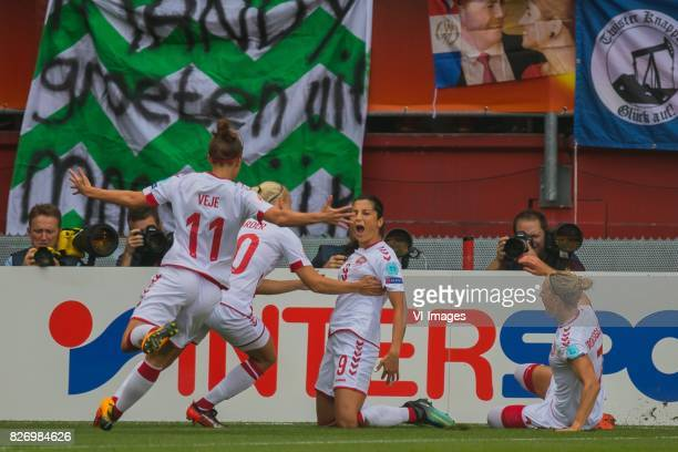 Katrine Veje of Denmark women Pernille Harder of Denmark women Nadia Nadim of Denmark women Sanne Troelsgaard of Denmark women during the UEFA WEURO...