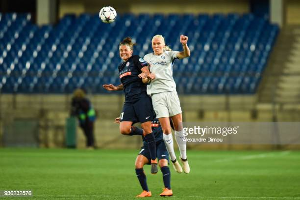 Katrine Veje of Montpellier and Maria Thorisdottir of Chelsea during the women's Champions League match round of 8 between Montpellier and Chelsea on...