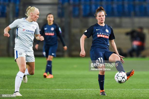 Katrine Veje of Montpellier during the women's Champions League match round of 8 between Montpellier and Chelsea on March 21 2018 in Montpellier...
