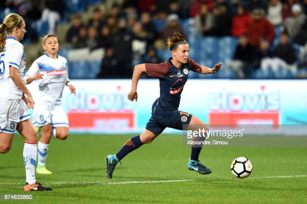 Katrine Veje of Montpellier scores third Goal during the UEFA women's Champions League match Round of 16 second leg between Montpellier and Brescia...