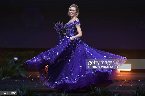 Katrín Lea Elenudóttir Miss Iceland 2018 walks on stage during the 2018 Miss Universe national costume presentation in Chonburi province on December...