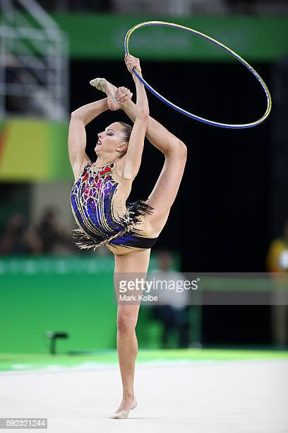 Katsiaryna Halkina of Belarus competes during the Women's Individual AllAround Rhythmic Gymnastics Final on Day 15 of the Rio 2016 Olympic Games at...